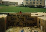 Cardboard City 1990, with a view of the dormitories on campus