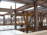 Steelwork on the 4th floor during north wing construction of Bannow Science Center