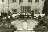 Group picture of the Blessing of Bellarmine Hall